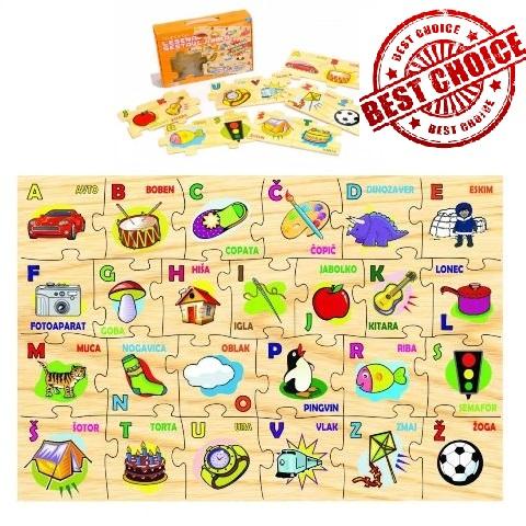Lesena sestavljanka abeceda puzzle